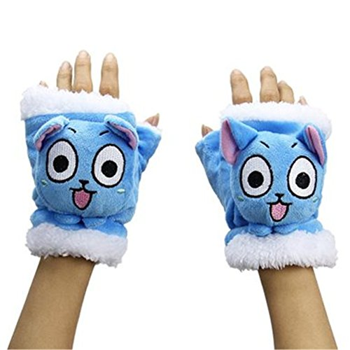 Aluckyday Cosplay Fairy Tail Natsu Dragneel Lucy Happy Cat Plush Glove