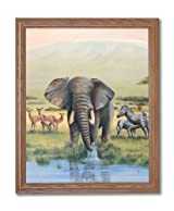 African Elephant Zebra And Deer Animal Wildlife Home Decor Wall Picture Oak Framed Art Print