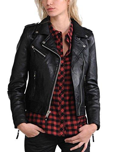 Vintage Women's Slim Biker Motorcycle Real Leather Zipper Jacket W173 XS Black