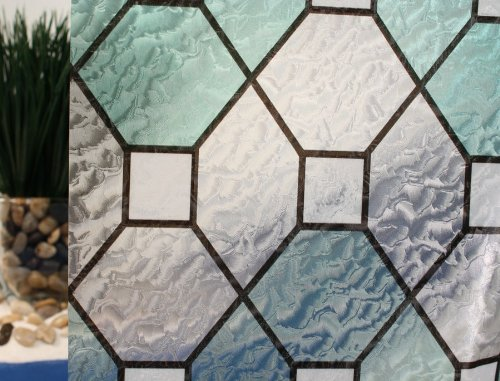 Green Leaded Stained Glass, Decorative, Privacy, Static Cling Window Film (36