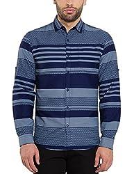 Locomotive Men's Casual Shirt (15110001471511_LMSH010656_L_Navy Blue)