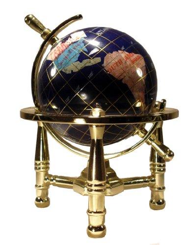 Imagen de Arte Único de 6 pulgadas por Blue Ocean Globe Lapis Tabla Mini Top piedras preciosas del mundo con Trípode de Oro