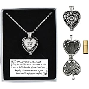 "Memorial Urn Locket ""Always in My Heart"""