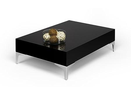 mobilifiver Evo Chrome mesa auxiliar de salón, madera, negro brillante, 90.0X 60.0x 28.0cm