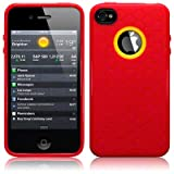 IPhone 4S / iPhone 4 Honeycomb TPU Gel Skin Case / Cover - Red Part Of The Qubits Accessories Range