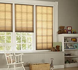 DEZ Furnishing QCLN484480 Cordless Cellular Light Filtering Shade, Linen - 48.5 W x 48 L in.