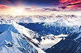 Papel pintado fotogr�fico que muestra las monta�as de los Alpes - imagen mural de un fant�stico paisaje de un atardecer de invierno - decoraci�n mural