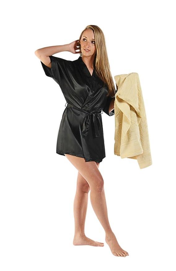 Del Rossa Women's Short Classic Satin Lounge Robe