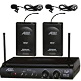 Audio2000s Awm-6032um UHF Dual Channel Wireless Microphone System with Two Lapel (Lavalier) Mic