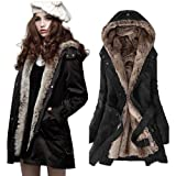 Zicac Women's Thicken Fleece Faux Fur Coat Hood (Black, L US6) by NYC Leather Factory Outlet