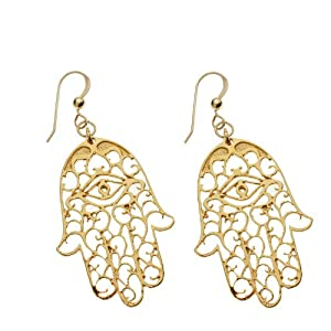 Small Hamsa Gold-dipped Earrings on French Hooks