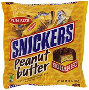 Snickers Fun Size Peanut Butter Squared Bars, 11.50-Ounce (Pack of 6)