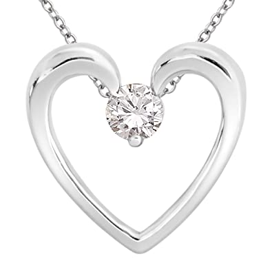 Sterling Silver Solitaire Diamond Heart Pendant Necklace (1/6 cttw, H-I Color, I1-I2 Clarity), 18″  $139.99