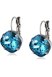 "Sorrelli ""Dress Blues"" Cushion Cut Antique Gold-Tone Drop Earrings"