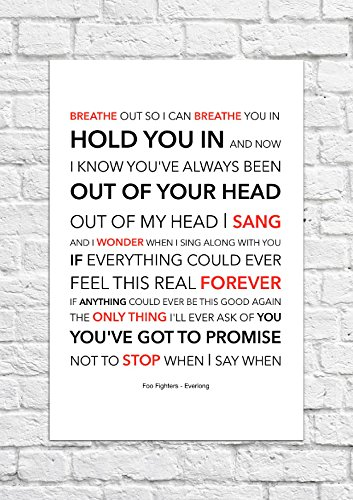 Foo Fighters __Everlong Lyrical Song Art Poster stampa laterale per non incorniciati