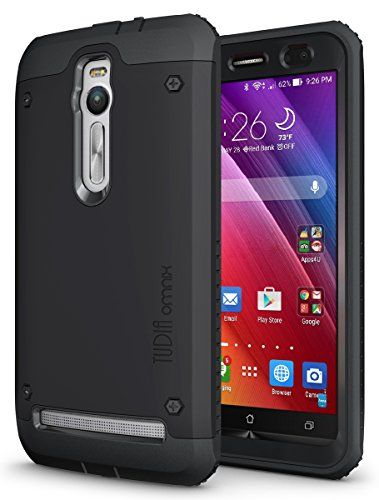 TUDIA Tough OMNIX [Heavy Duty] Hybrid Full-body Protective Case with Front Cover and Built-in Screen Protector for ASUS ZenFone 2 ZE550ML/ZE551ML (Not Compatible with ZE500CL) (Matte Black)