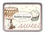 Cavallini 3 Assorted Rubber Stamps Sets, Sweet Treats