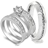 51RVxh6JgPL. SL160  4 pcs His and Hers STAINLESS STEEL wedding engagement ring set