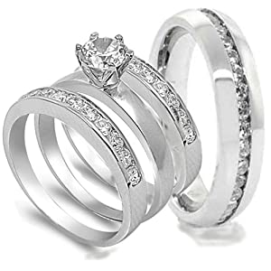 4 pcs His and Hers STAINLESS STEEL wedding engagement ring set (Size Men's 11 Women's 5)