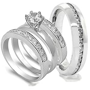 Amazon.com: 4 pcs His and Hers STAINLESS STEEL wedding