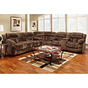 Charlotte reclining sectional sofa champion chocolate fabric by chelsea home Home furniture on amazon