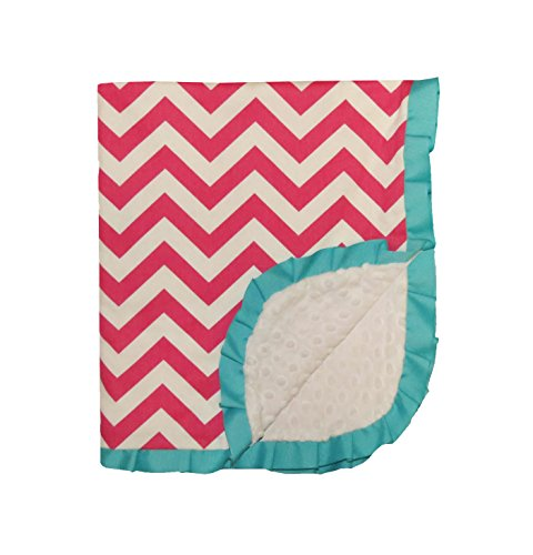 Caught Ya Lookin' Reversible Baby Blanket, Pink and White Chevron