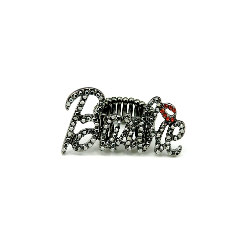 Nicki Minaj Barbie Iced Out Stretch Band Ring Black with Red Lips