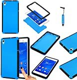 Magic Global Gadgets - Blue Front and Back Full Body Protector Hard Armour Hybrid Shock Proof Case Cover For Sony Xperia Z3 (D6603 / D6643 / D6653 / D6616 / D6633) With Built In Screen Protector - Full Dual Layer All Around Protection Cover + Mini Capaci