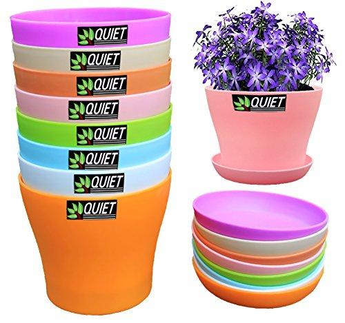 QUIET 8 Colors Cute Mini Colorful Plastic Flower Pots Planters With Saucers,Seedlings Flower &Seeds Germination & Succulent Plants Pots (Plastic Pots For Flowers compare prices)