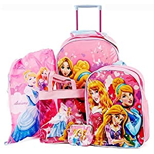 Disney Princess Girls Pink Childrens Kids 5 Piece Travel Luggage Set School Backpack Purse Swim Bag Handbag Trolley Bag
