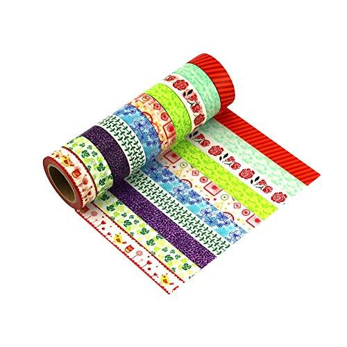 LATH.Pin Washi Tapes decorativo nastro adesivo nastro adesivo carta colorato roll Masking Tape Set di 10 Set da 10 Mix-G1-10