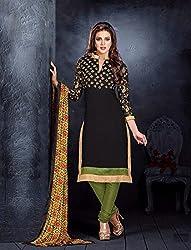 V-Kart Women's Cotton Unstitched Dress Material (Vkart_365_Black_Free Size)