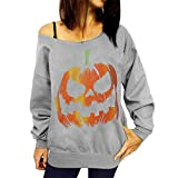 Sport Sweatshirts,Tonsee Women Halloween Pumpkin Print Shirt Long Sleeve Pullover Blouse (S, Grey)