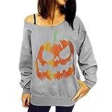 Sport Sweatshirts,Tonsee Women Halloween Pumpkin Print Shirt Long Sleeve Pullover Blouse (S, Grey)