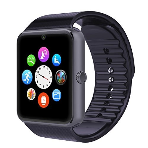 Mobiper® smart watch indossabile Smart Health Orologio da polso Telefono con slot per scheda SIM per Android Samsung HTC LG (Tutte le funzioni) IOS iPhone 5/5s/6/plus (Parte delle funzioni) (Nero)