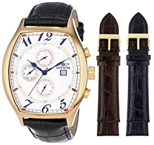 Invicta Men's 14330 Specialty Tonneau Watch with 3 Textured Leather Strap Set