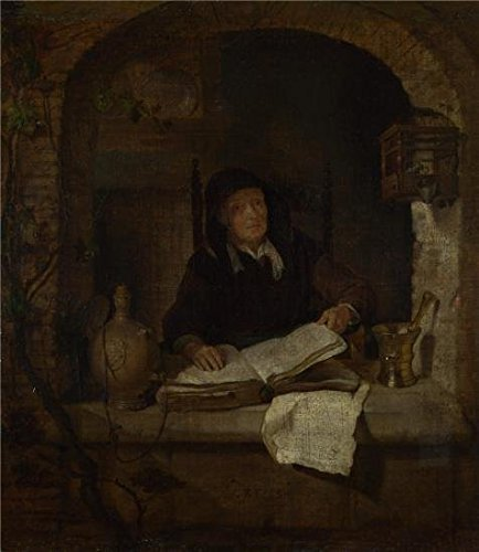 Perfect Effect Canvas ,the Imitations Art DecorativePrints On Canvas Of Oil Painting 'Gabriel Metsu - An Old Woman With A Book,about 1660', 18x21 Inch / 46x53 Cm Is Best For Dining Room Decoration And Home Gallery Art And Gifts (Spa Ticket Book compare prices)