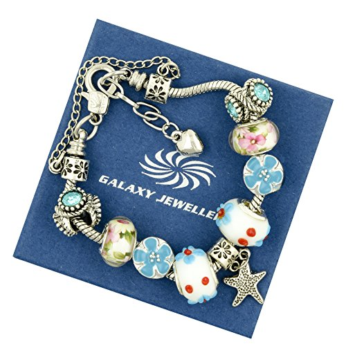 Braccialetto Stella e fiori-regalo ideale per donne e ragazze, con confezione regalo