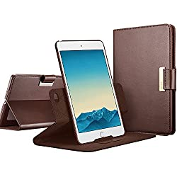 iPad mini 4 Case, ESR 360 Degree Rotating Folio Stand Case with Auto Wake/Sleep Function [Buckle for Secure Closure][Business Style Case] for Apple iPad mini 4 2015_Brown