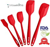 Set of 4 Premium Silicone Spatulas and 1 Silicone Brush Bundle Hygienic One Piece Solid Silicone Design in Red 100% Food Grade Safe