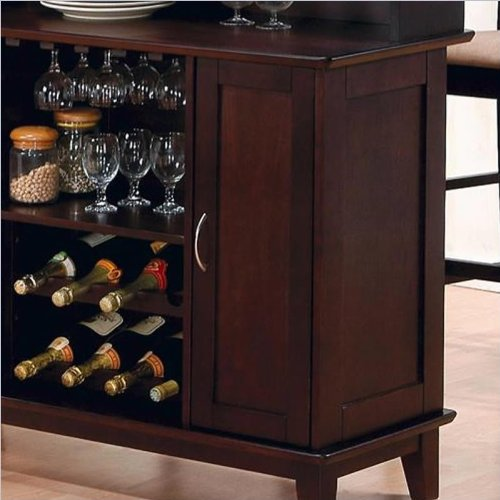 Coaster contemporary style solid wood bar unit with wine for Wooden bar unit