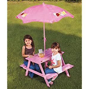 Kids Picnic Table  Benches with Umbrella