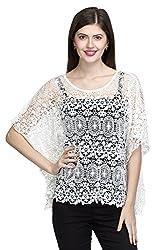 One Femme Women's Designer White Cotton Crochet Shrug (OFSGT002_White 01_Free Size)