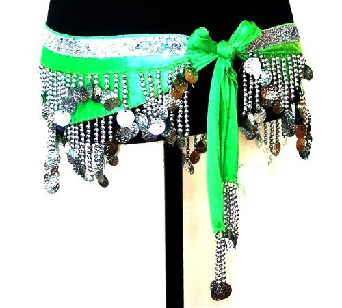 Belly Dance 2 Rows Beaded Coin Hip Scarf Belt Velvet Wrap GREEN & SILVER