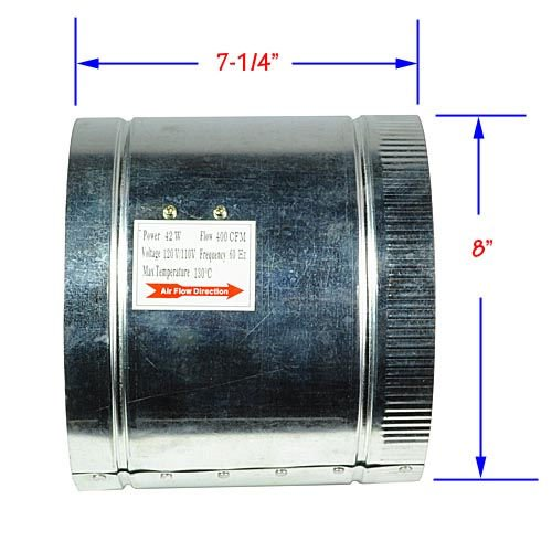 LEDwholesalers 8-Inch 400 CFM Air Duct Inline Hydroponic Booster Fan,GYO2404 (Exhaust Fan 400 compare prices)