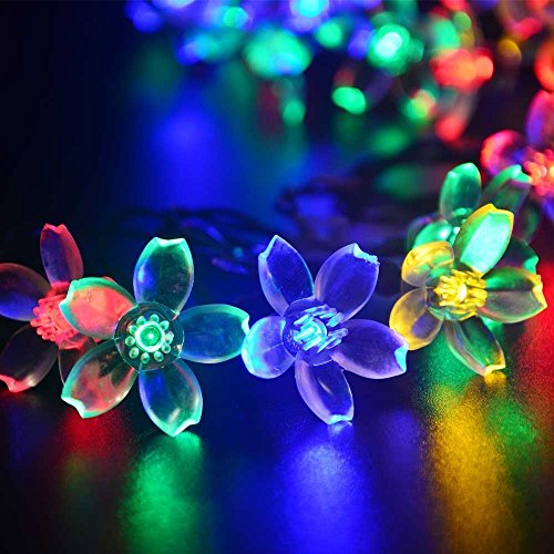 Solar Outdoor String Lights,URPOWER® 22ft 50 LED Waterproof Solar Powered String Flower Fairy Lights Christmas Lights for Home, Gardens, Lawn, Patio, Halloween, Christmas Trees, Weddings, Parties