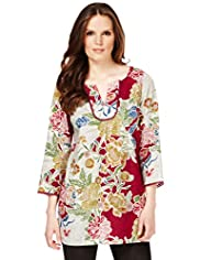 Quick Iron Linen Blend Placement Floral Tunic