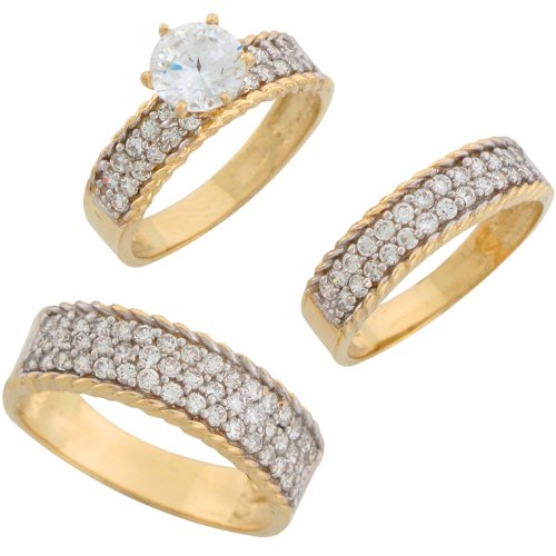 9ct Two Colour Gold White CZ Elegant His And Hers Wedding Ring Trio Set