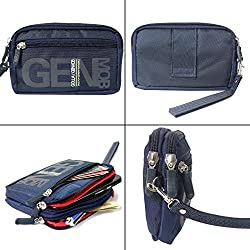 DMG Golla 5 inch Multipurpose Big Capacity 2 Layers Waterproof Cellphone Nylon Pouch / Belt Waist Bag / Pocket Money Purse for Phones and Cameras (Multicolour)