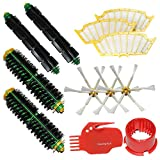 SHP-ZONE 2 Brush Cleaning Tools & 2 Bristle Brushes & 2 Flexible Beater Brushes & 3 Side Brushes 6-Armed & 3 Filters Pack Mega Kit for iRobot Roomba 500 Series Roomba 510, 530, 535, 540, 560, 570, 580, 610 Vacuum Cleaning Robots all Green, Red, Black cleaning head